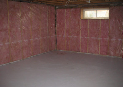 exposed insulation and wall frames of basement calgary