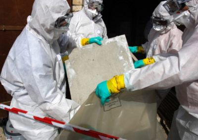 safe asbestos workers removing property damage
