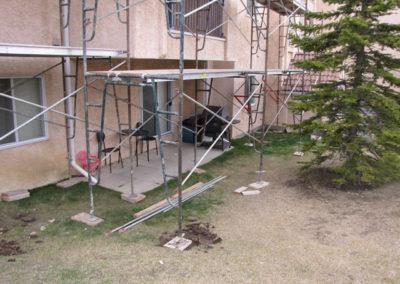 exterior repairs on building envelope calgary scaffolding