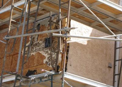 stucco siding repair construction on building envelope