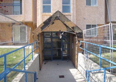 building stucco repair on exterior of condo building