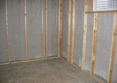 construction wall framing cement basement walls