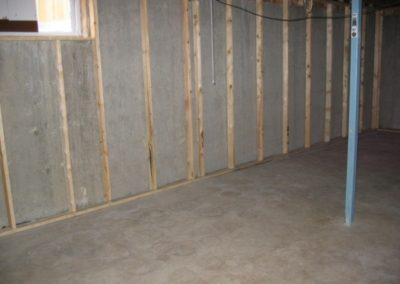 basement home constructed with wall frames and cement